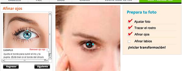 Afinar ojos, iris y pupila