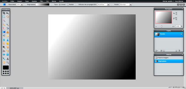 Pixlr interfaz