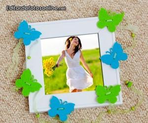 Fotomontaje en un marco de mariposas