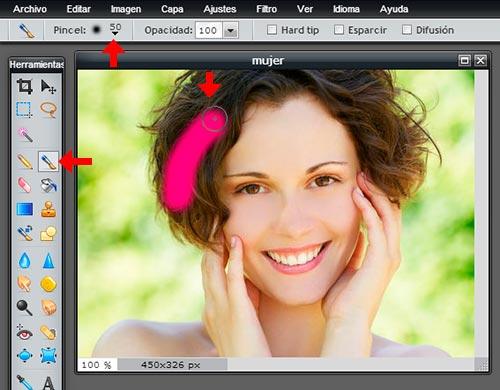Pintar cabello online con Pixlr