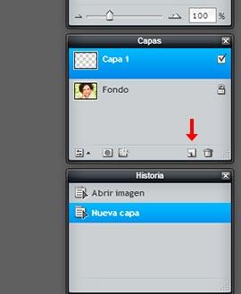 Crear capa nueva en Pixlr