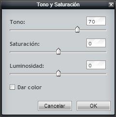 Tono y Saturación en Pixlr